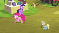 Twilight and Pinkie notice the filly S4E22
