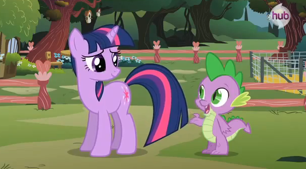 File:Twilight and Spike at Fluttershy's cottage S3E05.png