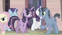 Main ponies enter back to the house S5E02