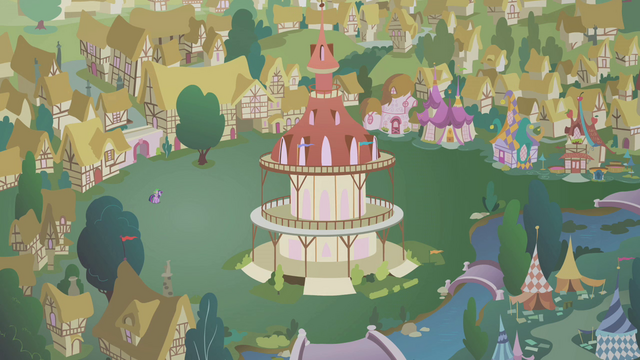 File:Twilight and Spike in an empty Ponyville S1E09.png