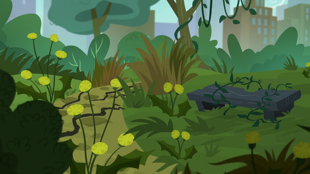 File:Manehattan park covered in weeds S5E16.png