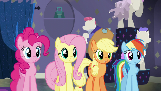 File:Pinkie, Fluttershy, AJ, and Dash pleased S6E9.png