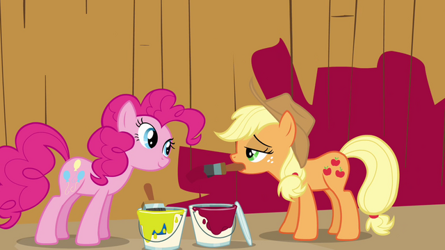 File:Pinkie Pie and Applejack in front of barn S02E18.png