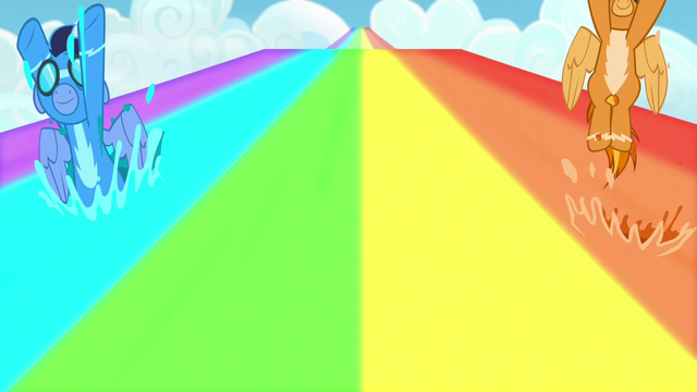 File:Soarin and Spitfire covered in rainbow water S7E7.png