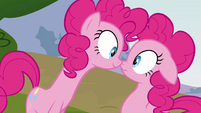 Pinkie Pie looking at her duplicate S3E03