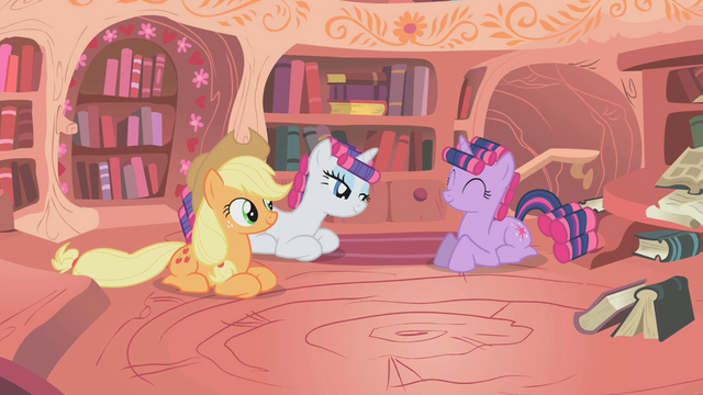 File:Twilight, Rarity, and Applejack are happy S1E8.png