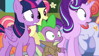 Twilight, Starlight, and Spike mobbed by Crystal Ponies S6E16