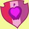 红、粉、紫三色的盾牌中间是个带有爱心的苹果