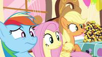 Rainbow, Fluttershy and AJ weirded out S4E18