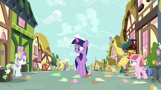 File:Twilight looks disapprovingly at the fillies S7E14.png
