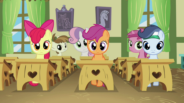 File:Everypony staring at Diamond Tiara S2E23.png