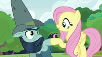 Fluttershy and Big Daddy McColt hoof-bump S7E5