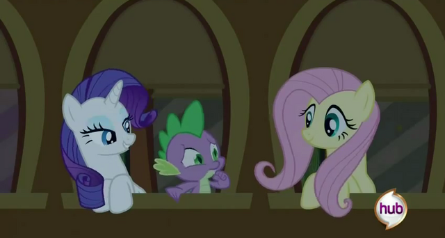 File:Fluttershy, Spike and Rarity chatting at the window S2E25.png