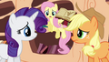 Fluttershy trying to get Rarity's and Applejack's attention S3E05.png