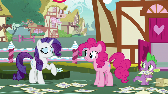 File:Rarity laughs off Pinkie and Spike's guesses S7E9.png