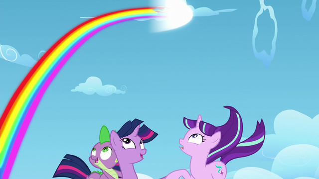 File:Twilight, Spike, and Starlight sees Rainbow leaving a rainbow trail S5E26.png