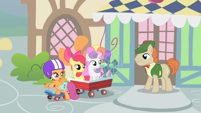 "File:Scootaloo ""we'll return the fan to you real soon"" S1E18.png"