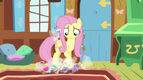 Fluttershy smiling at Breezies S4E16