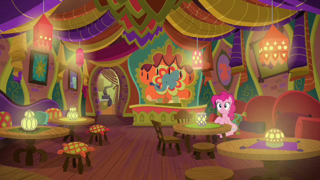 File:Pinkie Pie at a table in The Tasty Treat S6E12.png