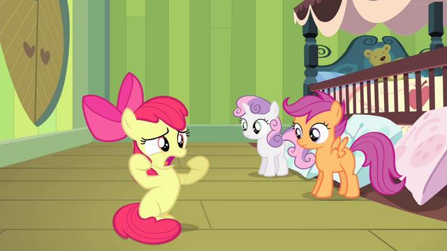 "File:Apple Bloom ""without Applejack hoverin' over me!"" S4E17.png"