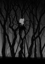 Slendermane standing in the forest