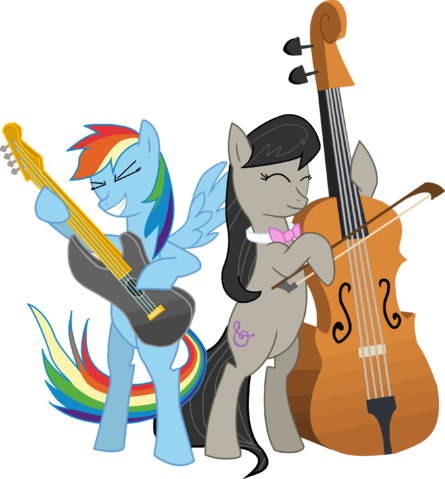 File:Rainbow Dash playing a guitar and Octavia playing the cello.png