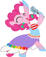 Pinkie Pie singing with mic out in pigtails
