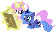 Princess Celestia and Princess Luna filly reading book