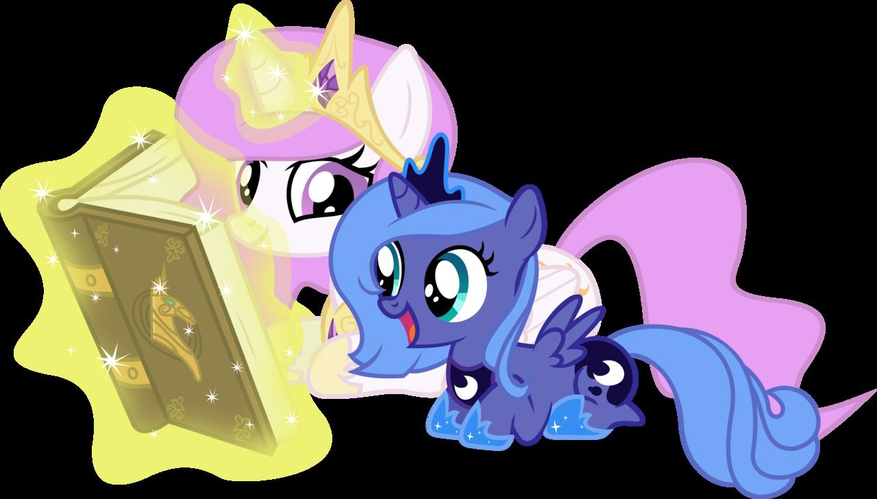 Image - Princess Celestia And Princess Luna Filly Reading ...