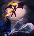 Celestia and Luna versus Sunset Shimmer by forgotten-wings.jpg