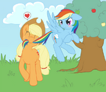 Applejack an Rainbow Dash by tenchisamoshi