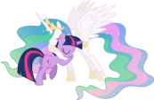 Princess celestia and twilight sparkle hugging 2 by 90sigma-d5v8egf
