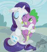 Rarity hug Spike by artist-prinzeburnzo