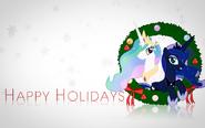 Princess Celestia and Princess Luna holidays wallpaper by artist-vexx3