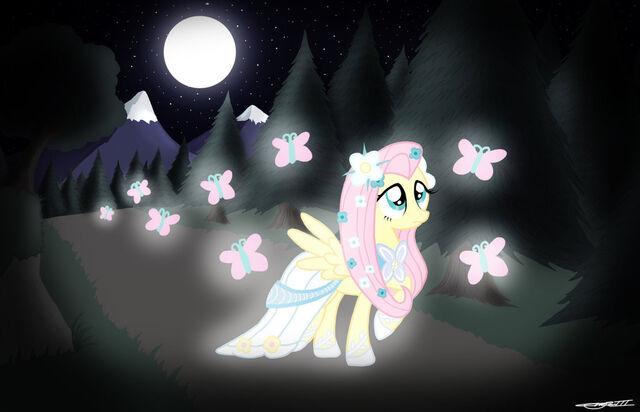 File:Fluttershy as an angel in a gown with butterflies.jpg