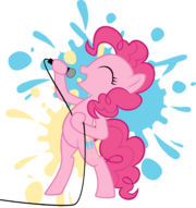 Pinkie Pie holding the microphone