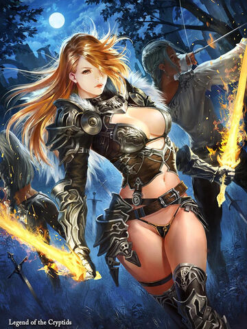 File:Sci fi fantasy female armor concept design sexy pose boobs hips thighs witch warrior mmo game sorceress anime overwatch gladiator knight huntress hunter blade 1 lost arc mmo fire blades swords pyrokinet.jpg