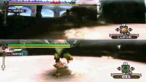 Monster Hunter 3 Tri - Multiplayer Split Screen Gameplay