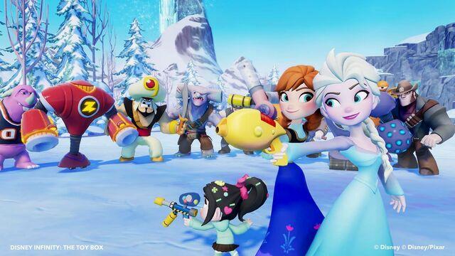 File:Elsa, Anna, and Vanellope against baddies.jpg