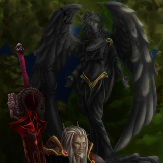 Vynlarion at Lathinal's grave (Courtesy of Kenny).