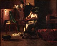 Woman-writing-at-a-table