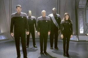 Jonathan-Frakes-as-Commander-William-T.-Riker-Brent-Spiner-as-Lieutenant-Commander-Data-Patrick-Stewart-as-Captain-Jean-Luc-Picard-Michael-Dorn-as-Lieutenant-Commander-Worf-and-Marina-Sirtis-as-Counselor-Deanna-Troi-in-Paramoun-10