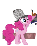 Pinkie dons a deerstalker hat and bubble pipe