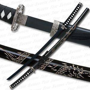 Dragon engraved katana sword black blade 540