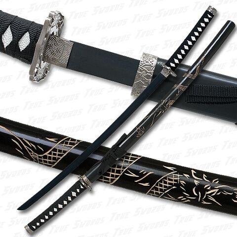 File:Dragon engraved katana sword black blade 540.jpg