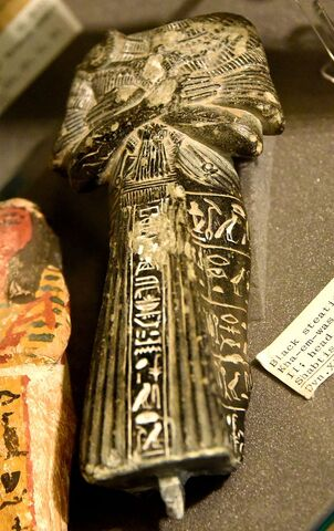 File:Shabti of Khaemweset (Khamwaset, Kha-em-was), son of Ramesses II. The head is missing. Black steatite. 19th Dynasty. From Egypt. The Petrie Museum of Egyptian Archaeology, London.jpg