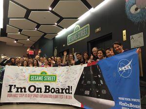 Sesame Workshop signed Orion banner
