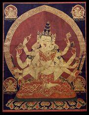 463px-17th century Central Tibeten thanka of Guhyasamaja Akshobhyavajra, Rubin Museum of Art