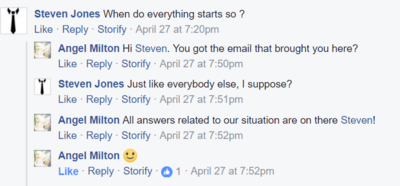 Angel email brought people to fb group april 28