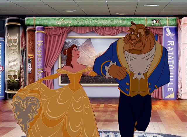 File:Belle and Beast is having so much fun at Disney Cruise Line.PNG